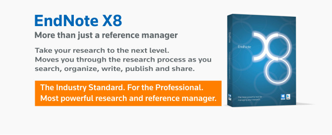 EndNote X8. Research Smarter. Leave behind the tedious work of bibliographies and reference management and take your research to the next and more professional level with EndNote X8, the industry standard, most powerful research and reference manager on the market.
