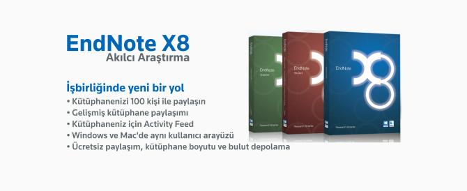 EndNote X8. Akılcı Araştırma. Bibliyografyaların ve referans yönetimin sıkıcı çalışmalarının geride bırakın ve piyasadaki endüstri standardı, en güçlü araştırma ve referans yöneticisi EndNote X8 ile araştırmanızı daha ileri ve daha profesyonel seviyeye taşıyın.