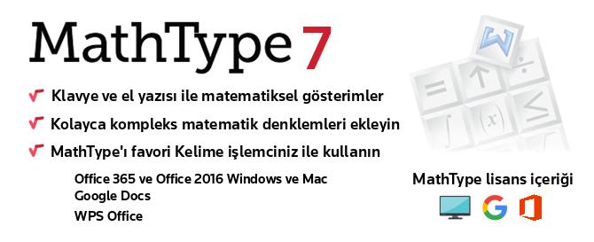 MathType 7, Microsoft Word için popüler denklem düzenleyicisi güncellendi. MathType'ın yeni online sürümü de sorunsuz bir şekilde Google Dokümanlar'a entegre edilmiştir. MathType, Windows ve Macintosh için kelime işlemcinizle, sunum ve diğer birçok favori uygulamalarınızda matematiksel gösterimler oluşturmanıza olanak sağlayan güçlü bir denklem düzenleyicisidir. Araç çubuğunuzu, daha sık kullandığınız matematik ifadeleriyle kişiselleştirin.